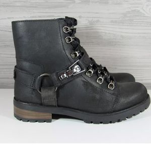 UGG FRITZI LACE UP BLACK LEATHER ANKLE COMBAT BOOT